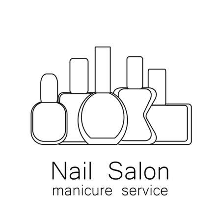 nail salon: Nail Salon icon.  Vector nail polish icon. Symbol of manicure. Simple linear nail polishes on a white background. Cosmetic label. Vector illustration.