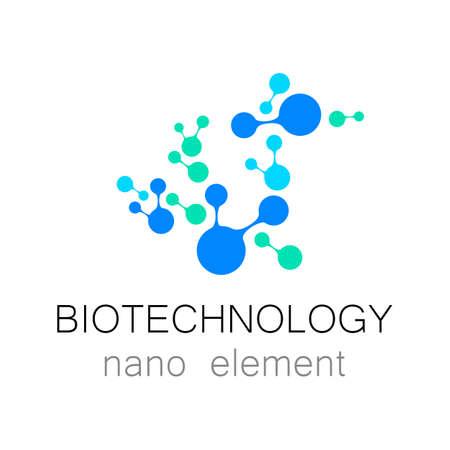 biotecnologia: La nanotecnología. Biotecnología. molécula plantilla abstracta del vector del icono. identidad industria médica.