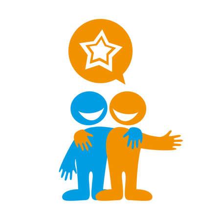 conversations: People dialog icon.  Success. Popularity. Star.Vector illustration.