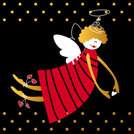 religious symbol: Angel with wings and halo. Flying angel on a black background. Greeting Card Template. Cartoon angel. Religious symbol. Vector illustration. Illustration
