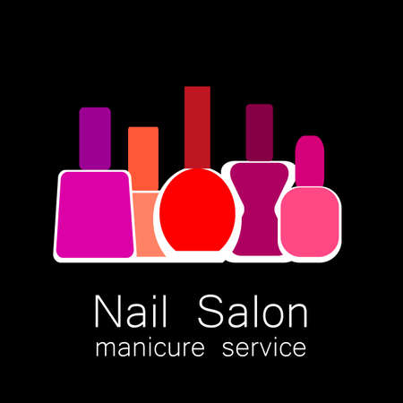 Nail Salon icon . Colorful nail polish on black background. Design sign - nail care. Beauty industry, nail salon, manicure service, spa boutique, cosmetic products. Vector illustration.