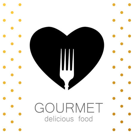 Heart with silhouette of a fork on a white background. Gourmet icon. Delicious food. Lovely food icon template. Love Food icon . Template icon for restaurant, cafe, fast food, store food. Vector logo template.