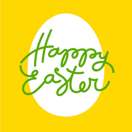 handwriting: Happy easter. Template Easter greeting card. Easter egg. Easter lettering. Easter background. Easter illustration. Handwriting inscription.