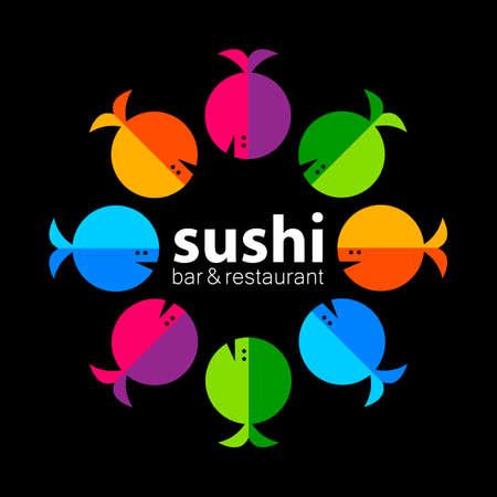 Sushi . Sushi bar restaurant design element. Sushi food, sashimi, japanese food, sushi fish, sushi chef, sushi menu, japanese restaurant. Vector illustration.