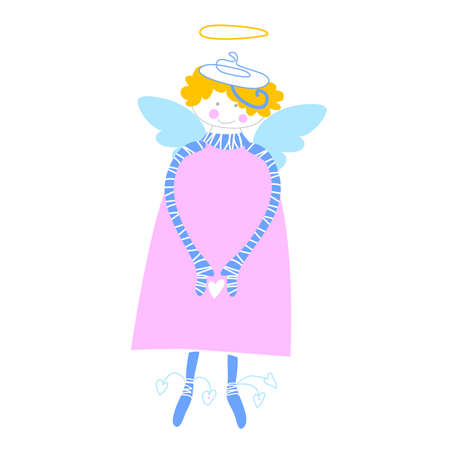 amur: Angel - vector illustration. Love Cupid with a heart in his hands.