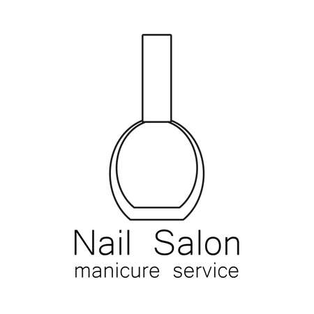 nail salon: Nail Salon logo. Simple linear nail polishes on a white background. Beauty industry, nail salon, manicure service, spa boutique, cosmetic products. Cosmetic label. Vector illustration. Illustration