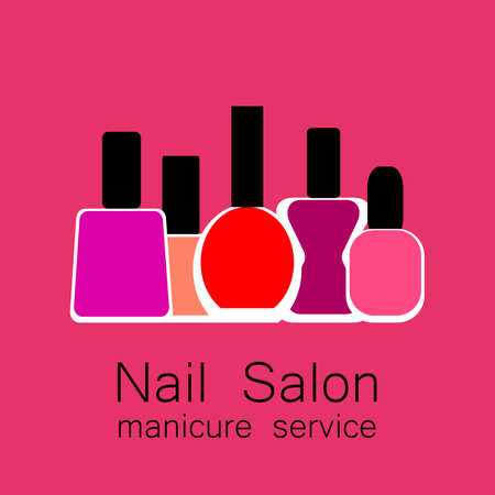 nail salon: Nail Salon  .  Vector nail polish  . Symbol of manicure. Design sign - nail care. Beauty industry, nail salon, manicure service, spa boutique, cosmetic products. Vector illustration.