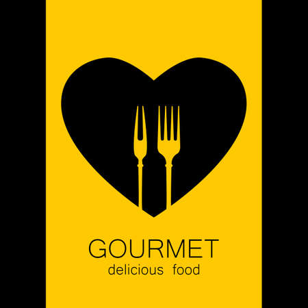 cafe food: Gourmet  . Delicious food. Golden Heart with silhouette of fork on black background. Love Food  . Template  for restaurant, cafe, fast food, store food. Vector  .