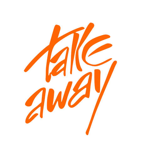 away: Takeaway. Take away food label. Vector illustration. Illustration