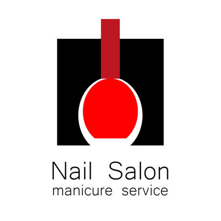 industry design: Nail Salon  .  Symbol of manicure. Design sign - nail care. Beauty industry, nail salon, manicure service, spa boutique, cosmetic products. Vector illustration. Illustration