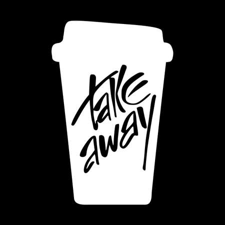 take: Takeaway. Take away coffee. Take away coffee cup isolated on black background.  Vector illustration.