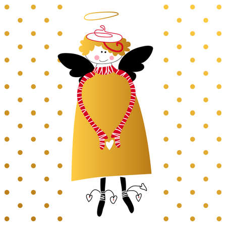 religious symbol: Angel with wings and halo. Flying cupid with heart in hands. Greeting card for Valentines Day template. Cartoon angel. Religious symbol. Vector illustration. Illustration