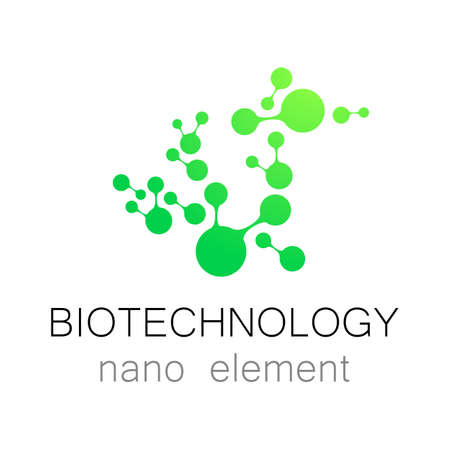 biotech: Nanotechnology. Biotechnology.  Abstract molecule vector  template. Medical industry  identity.