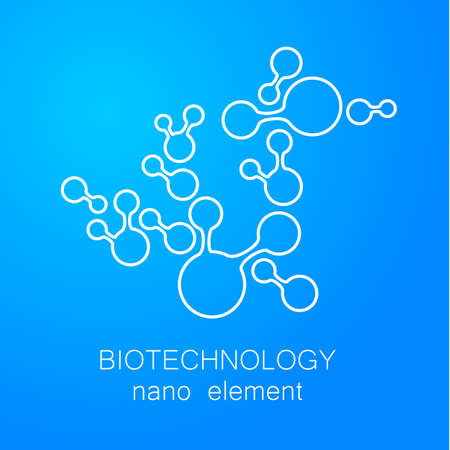 nanotechnology: Biotechnology. Symbol molecule. Vector  template. Abstract molecule vector template. Nanotechnology development.  for the medical industry, science, modern technologies. Illustration