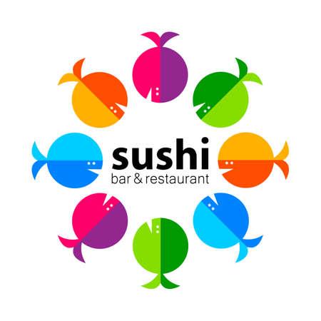japanese food: Sushi  . Sushi bar restaurant design element. Sushi food,  sashimi, japanese food, sushi fish, sushi chef, sushi menu, japanese restaurant. Vector illustration.
