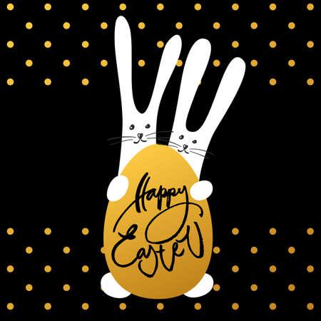 tarjeta de Pascua feliz. Dos conejitos de Pascua y egg.Template de fondo de Pascua. conejos de pascua divertidas. Ilustración del vector. Ilustración de vector