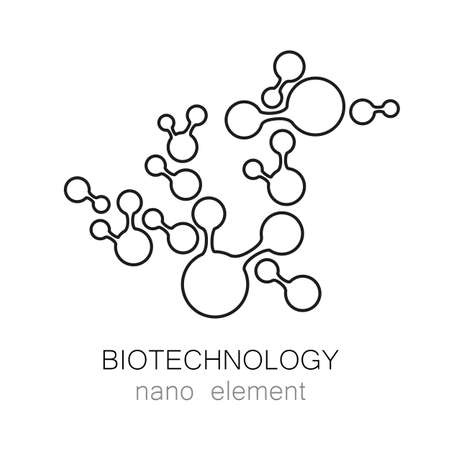 biotech: Biotechnology. Symbol molecule. Vector  template. Abstract molecule vector template. Nanotechnology development.  for the medical industry, science, modern technologies. Illustration