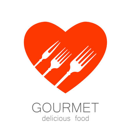 Gourmet  . Delicious food. Golden Heart with silhouette of fork on black background. Love Food  . Template  for restaurant, cafe, fast food, store food. Vector  .
