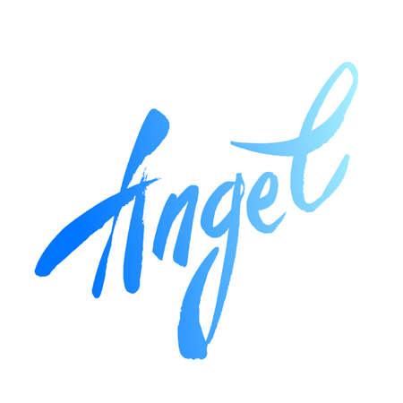 angel white: Inscription - Angel. Handwritten lettering angel on a white background. Vector illustration. Illustration