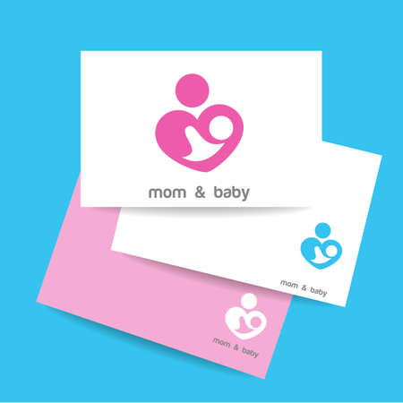 parental: Mom and baby. Business card.   template. Mothers care sign. Symbol of parental love. Vector illustration. Icon mother and baby. Illustration