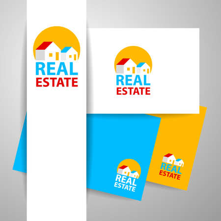 roof construction: Real Estate   design template. Identity concept. Vector illustration.