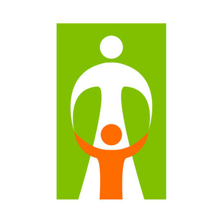 child care: Mother care of child. Sign symbol of love, care and guardianship. Illustration