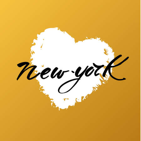 handwritten: New York city  lettering design template. New York inscription no gold background with white heart. Handwritten quote. Vector illustration.