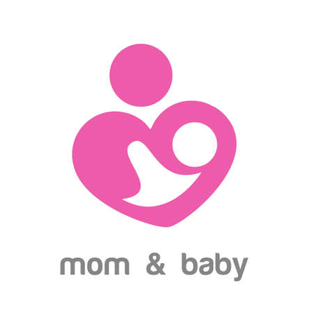 Mom and baby.   template. Mothers care sign. Symbol of parental love. Vector illustration. Icon mother and baby.