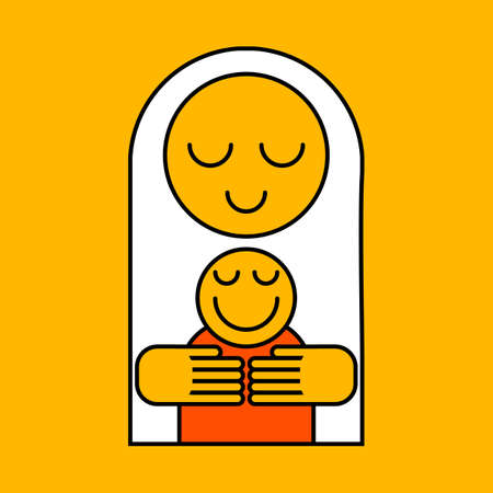 hugs: Mothers day icon. Mom hugs baby. Vector illustration.