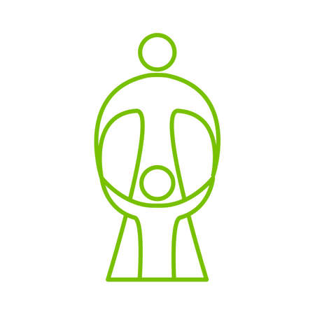 guardianship: Mother care of child. Sign symbol of love, care and guardianship. Template for logo of social organization, Foundation for Protection of Children, the medical center and etc. Vector illustration. Illustration