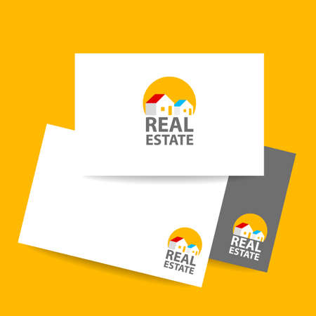 roof construction: Business card template. Real estate agent design template. Vector illustration. Illustration
