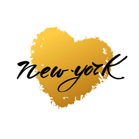 american cities: New York city  lettering design template. New York inscription with heart. Print for t-short. Handwritten quote. Vector illustration.