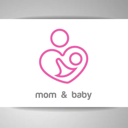 baby mother: Mom and baby.   template. Mothers care sign. Symbol of parental love. Vector illustration. Icon mother and baby.