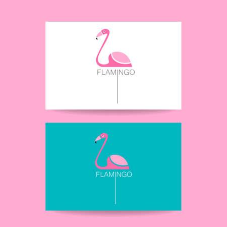 identity card: Identity card. Vector illustration pink flamingo. Exotic bird.