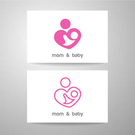 parental: Mothers care sign. Symbol of parental love. Vector illustration. Icon mother and baby.
