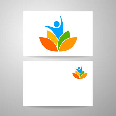health spa: Yoga   and identity card. Health Care, Beauty, Spa, Relax, Meditation, Nirvana concept icon.  Vector illustration for yoga studio, event, school, club, web. Illustration