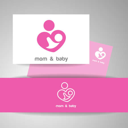 parental: Mom and baby. Lo o template. Mothers care sign. Symbol of parental love. Vector illustration. Icon mother and baby. Illustration