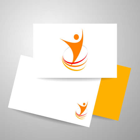 identity card: Energy symbol. Winner   template. Business card design. Identity business concept. Human abstract. Vector illustration. Illustration