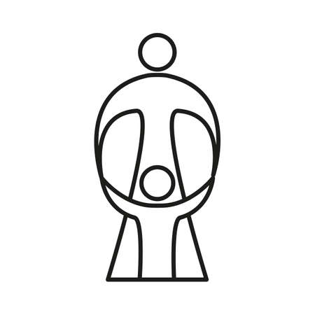 care symbol: Mother care of child. Sign symbol of love, care and guardianship. Illustration