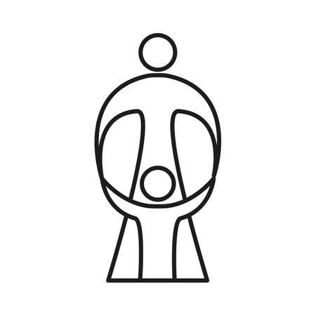 guardianship: Mother care of child. Sign symbol of love, care and guardianship. Illustration