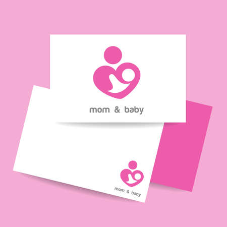 parental love: Mom and baby. Mothers care sign. Symbol of parental love. Identity template. Vector illustration.