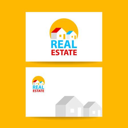 real business: Real Estate   Design. Business card template. Real estate agent design template. Vector illustration.