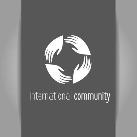connect people: International community.   template. People connect sign. Business identity. Vector illustration. Illustration