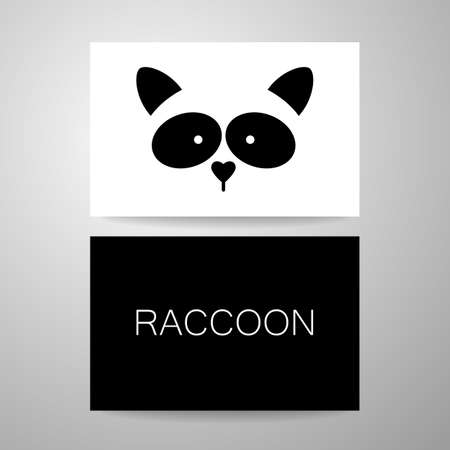racoon: Raccoon design card. Raccoon mascot idea