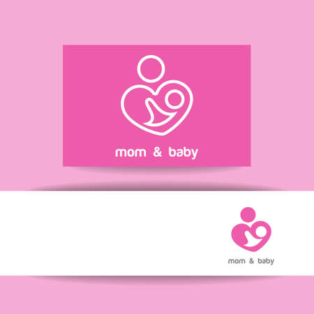 baby mother: Mom and baby. Logo template. Mothers care sign. Symbol of parental love. Vector illustration. Icon mother and baby. Illustration
