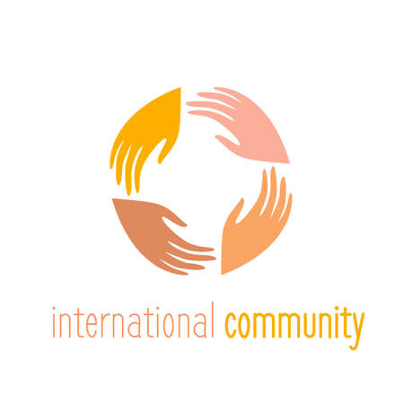 connect people: International community. Logo template. People connect sign. Vector illustration.