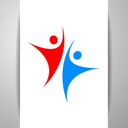 logotipo del equipo éxito. logotipo de carácter humano. logotipo del equipo. logotipo de la gente abstracta. Modelo de la insignia del vector. elemento de diseño.