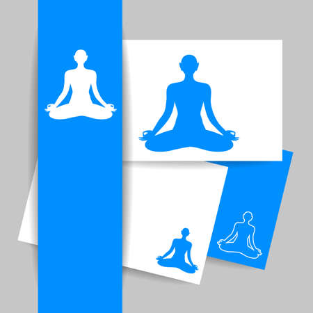 health spa: Yoga Lotus. Silhouette of meditating person. Concept Identity presentation design for Yoga studio, Health Care center, Beauty salon, Spa, Relax, Meditation and itc. Vector graphic illustration.