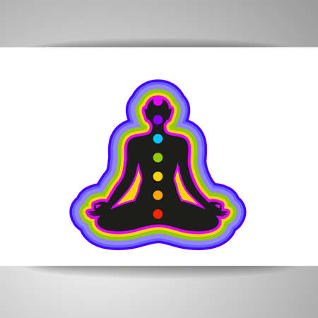 vishuddha: Yoga Lotus. Human silhouette meditating with chakras and aura.