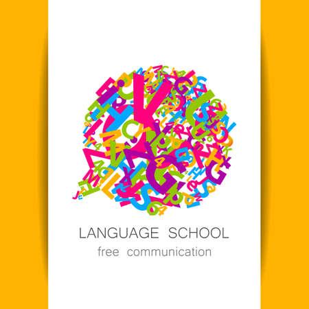 linguistic: Language School, translation, linguistic center, language teachers, international communication club. Vector. Illustration